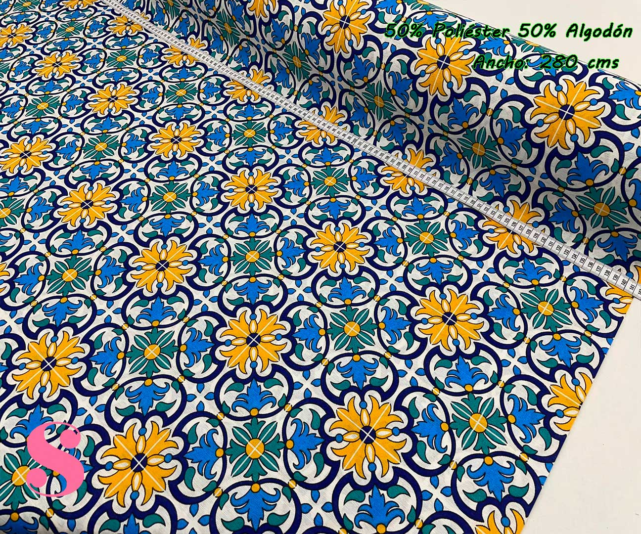 11-telas-por-metros,telas-de-exterior,tejidos-de-exterior,tejidos-por-metros,telas-para-jardín,Loneta Estampada Azulejo Portugués Lisboa