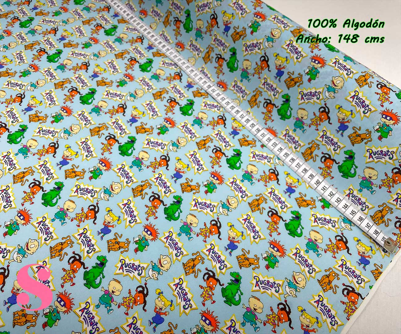 12-telas-estampadas-de-algodón,-telas-frikis,estampados-frikis-de-algodón,-estampados-origonales-de-algodón,Tejido Estampado Rugrats