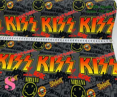 16-telas-estampadas-de-algodón,-telas-frikis,estampados-frikis-de-algodón,-estampados-origonales-de-algodón,Tejido Estampado Estrellas del Rock,Tejido Estampado Bandas de Rock