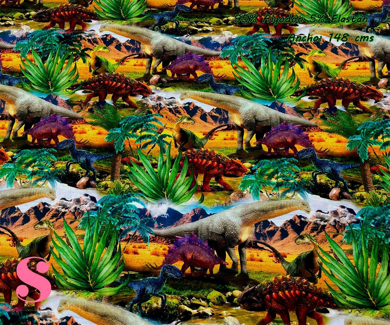 17-telas-por-metros,telas-de-camiseta,tejidos-de-punto-camiseta,tejidos-por-metros,telas-para-bebes,Punto Camiseta Jersey Estampado Dinosaurios