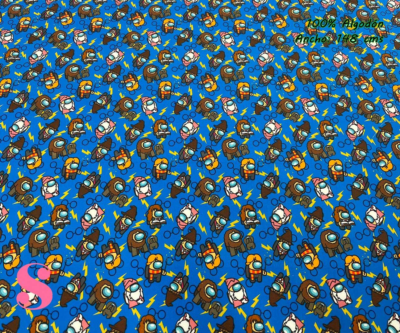 18-telas-estampadas-de-algodón,-telas-frikis,estampados-frikis-de-algodón,-estampados-origonales-de-algodón,Tejido Estampado Among Us Potter