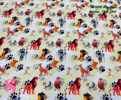 21-telas-estampadas-de-algodón,-telas-frikis,estampados-frikis-de-algodón,-estampados-origonales-de-algodón,Tejido Estampado Rey León Huellas