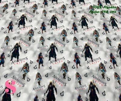 22-telas-estampadas-de-algodón,-telas-frikis,estampados-frikis-de-algodón,-estampados-origonales-de-algodón,Tejido Estampado Assassins Creed