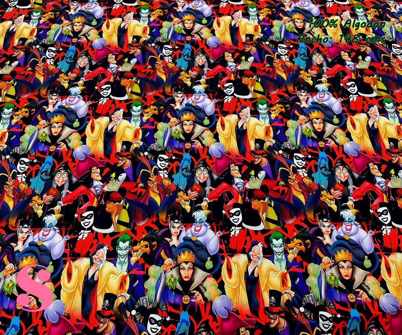 25-telas-estampadas-de-algodón,-telas-frikis,estampados-frikis-de-algodón,-estampados-origonales-de-algodón,Tejido Estampado Villanos Disney