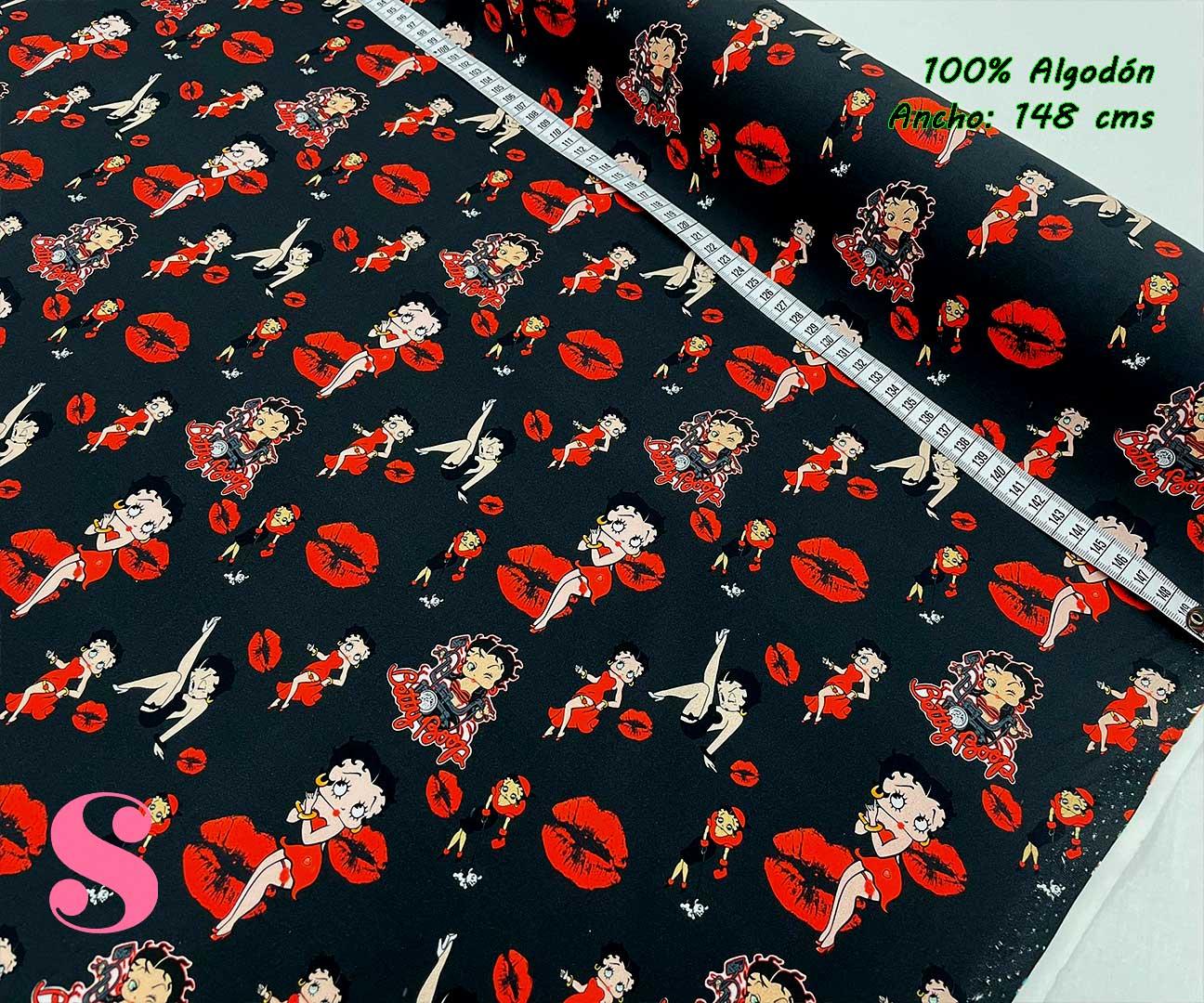 27-telas-estampadas-de-algodón,-telas-frikis,estampados-frikis-de-algodón,-estampados-origonales-de-algodón,Tejido Estampado Betty Boop Kiss