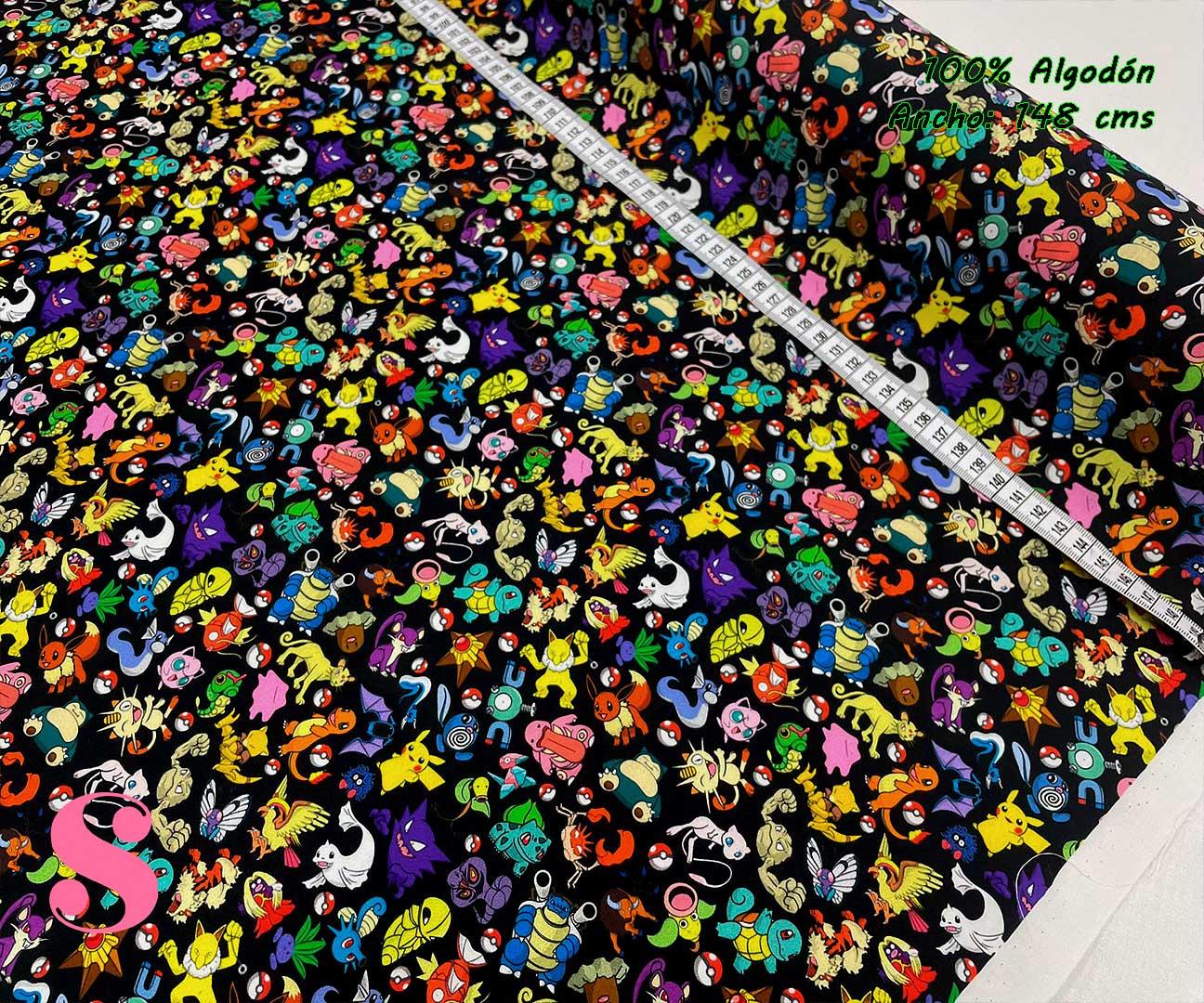 29-telas-estampadas-de-algodón,-telas-frikis,estampados-frikis-de-algodón,-estampados-origonales-de-algodón,Tejido Estampado Pokemons