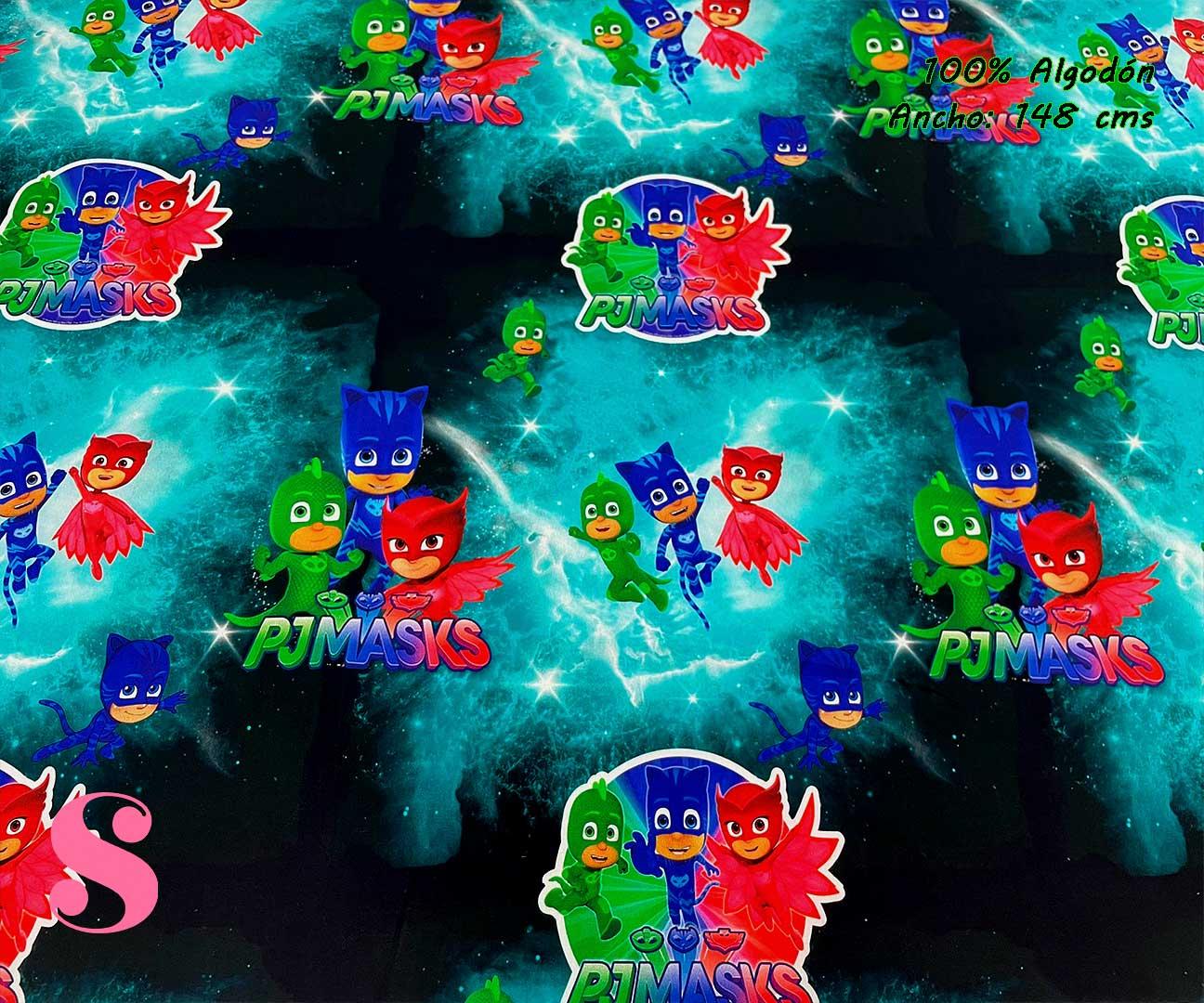 32-telas-estampadas-de-algodón,-telas-frikis,estampados-frikis-de-algodón,-estampados-origonales-de-algodón,Tejido Estampado PJ Masks
