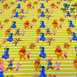916 Tejido Estampado Winnie the Pooh Rayas