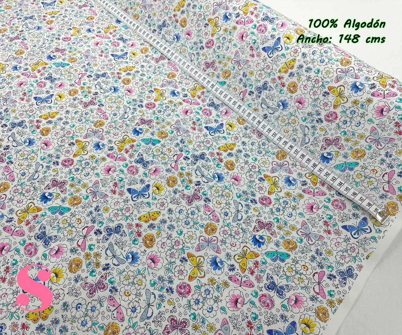 44-telas-estampadas-de-algodón,-telas-frikis,estampados-frikis-de-algodón,-estampados-origonales-de-algodón,Tejido Estampado Mariposas y Flores