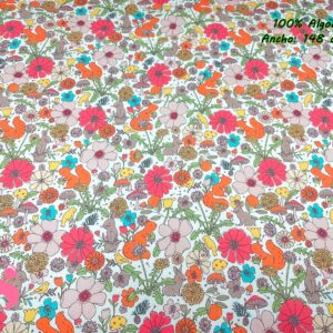 922 Tejido Estampado Flores y Animales