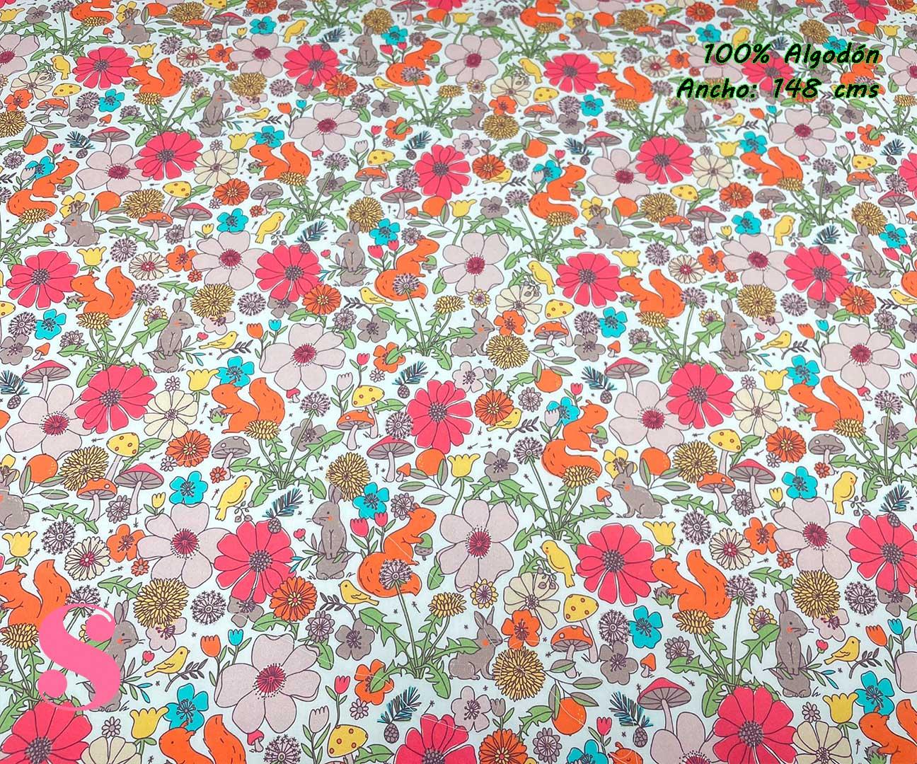 46-telas-estampadas-de-algodón,-telas-floreadas,estampados-floreados-de-algodón,estampados-origonales-de-algodón,Tejido Estampado Flores y Animales