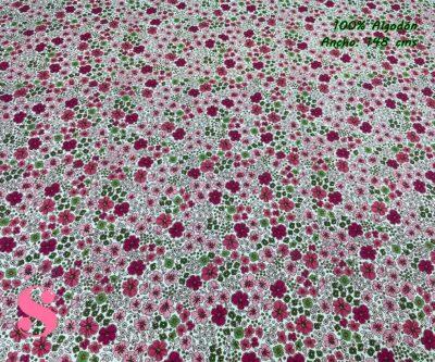 48-telas-estampadas-de-algodón,-telas-floreadas,estampados-floreados-de-algodón,estampados-origonales-de-algodón,Tejido Estampado Flores London Tonos Granate y Verde