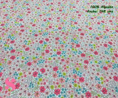 50-telas-estampadas-de-algodón,-telas-floreadas,estampados-floreados-de-algodón,estampados-origonales-de-algodón,Tejido Estampado Flores London Tonos Rosas y Turquesa