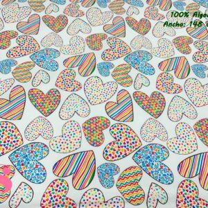 924 Tejido Estampado Corazones Multicolor