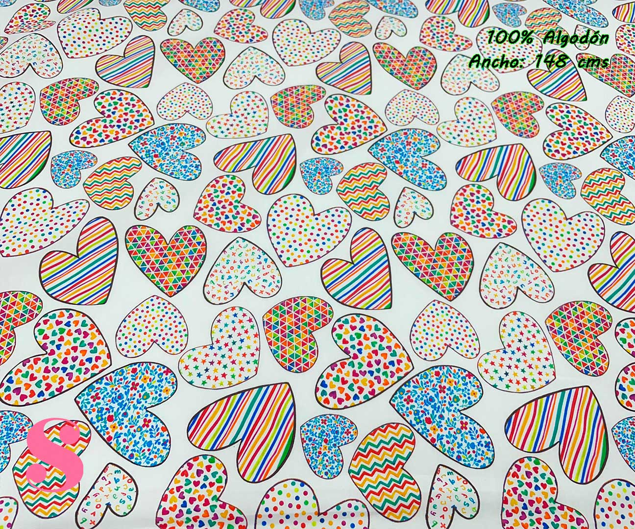 52-telas-estampadas-de-algodón,-telas-floreadas,estampados-floreados-de-algodón,estampados-origonales-de-algodón,Tejido Estampado Corazones Multicolor