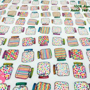 925 Tejido Estampado Tarros Multicolor