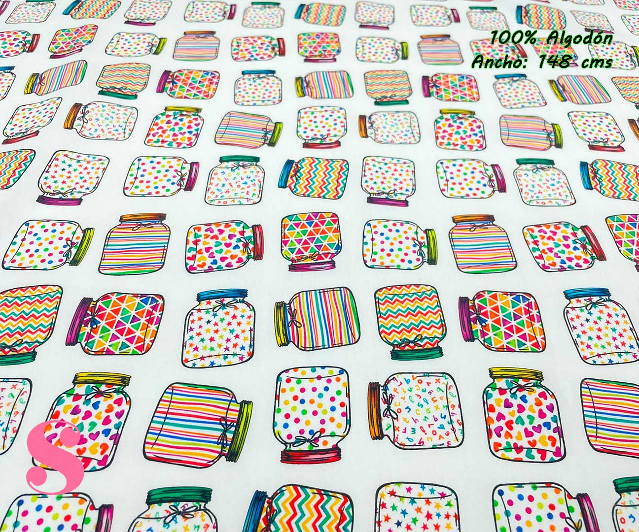 54-telas-estampadas-de-algodón,-telas-floreadas,estampados-floreados-de-algodón,estampados-origonales-de-algodón,Tejido Estampado Tarros Multicolor