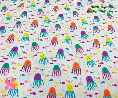 55-telas-estampadas-de-algodón,-telas-floreadas,estampados-floreados-de-algodón,estampados-origonales-de-algodón,Tejido Estampado Medusas