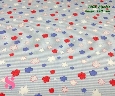57-telas-estampadas-de-algodón,-telas-floreadas,estampados-floreados-de-algodón,estampados-origonales-de-algodón,Tejido Estampado Nubes y Rayas