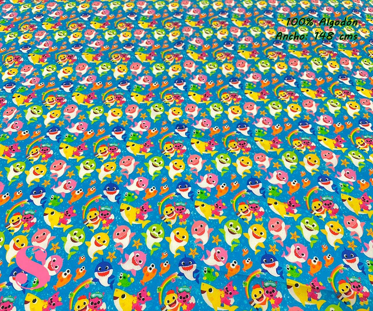 8-telas-estampadas-de-algodón,-telas-frikis,estampados-frikis-de-algodón,-estampados-origonales-de-algodón,Tejido Estampado Baby Shark