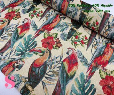 1-tela-de-tapiz,tela-gobelino,tela-para-forrar-sillas,telas-de-exterior,telas-rústicas,Gobelino Estampado Loros