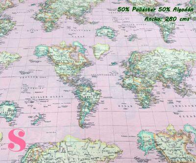 10-tela-de-tapiz,tela-loneta,tela-para-forrar-sillas,telas-de-exterior,telas-rústicas,Loneta Estampada Mapamundi Rosa