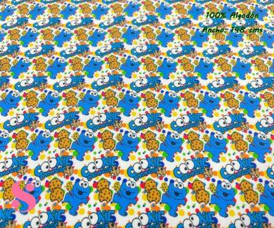 10-telas-disney,telas-infantiles,telas-frikis,estampados-disney,estampados-disney,telael-mounstruo-de-las-galletas,Tejido Estampado Cookie Monster