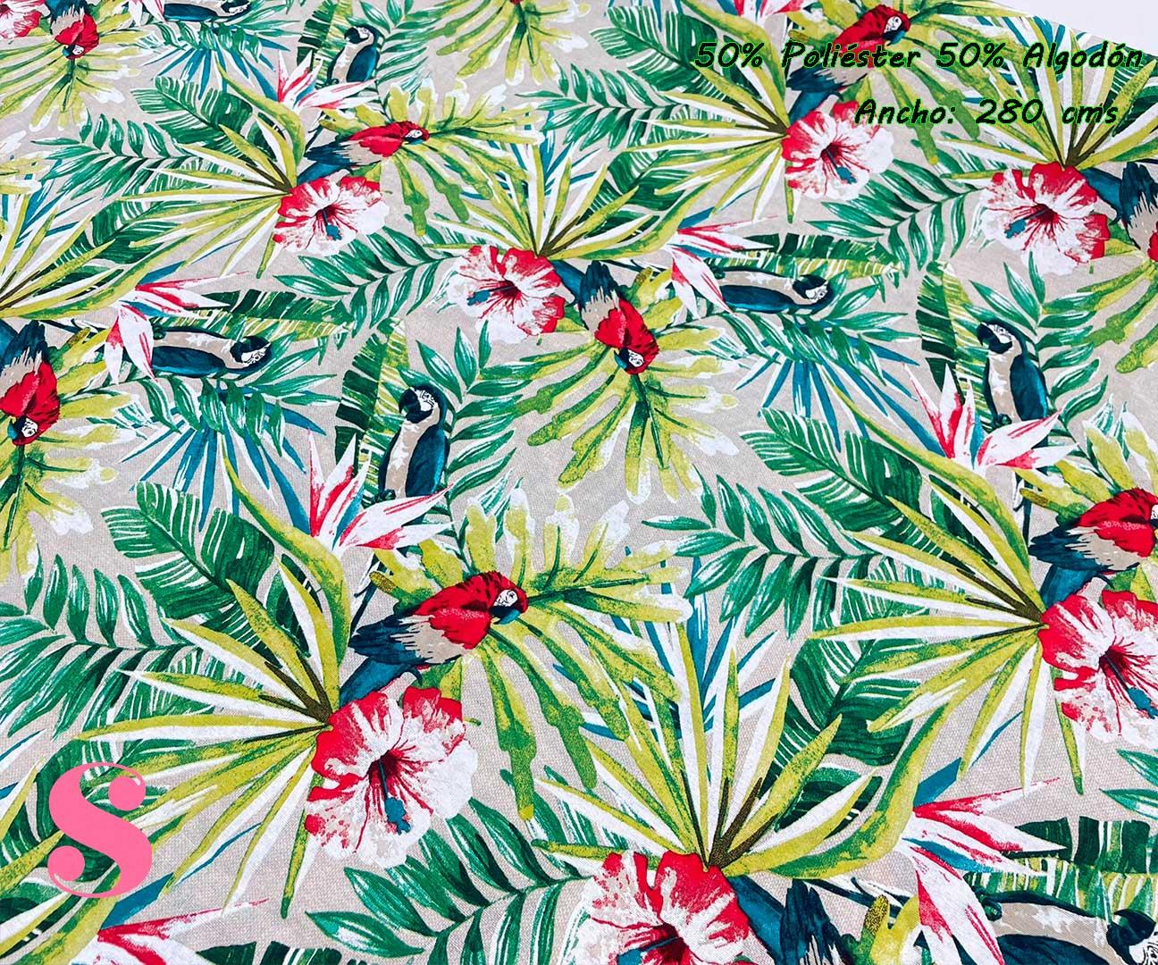 12-tela-de-tapiz,tela-loneta,tela-para-forrar-sillas,telas-de-exterior,telas-rústicas,Loneta Estampada Loro Guacamayo