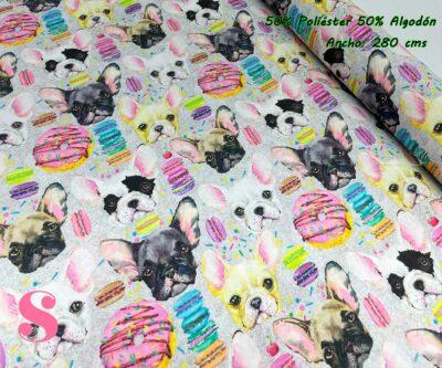 14-tela-de-tapiz,tela-loneta,tela-para-forrar-sillas,telas-de-exterior,telas-rústicas,Loneta Estampada Dulce Bulldog