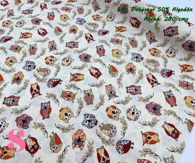 15-tela-de-tapiz,tela-loneta,tela-para-forrar-sillas,telas-de-exterior,telas-rústicas,Loneta Estampada Búhos