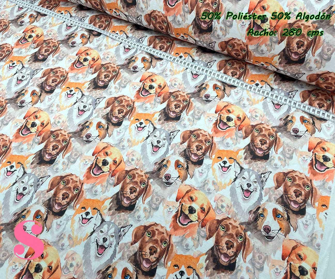 2-tela-de-tapiz,tela-loneta,tela-para-forrar-sillas,telas-de-exterior,telas-rústicas,Loneta Estampada Perros