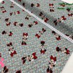 22-telas-de-algodón,telas-para-confeccionar-ropa-de-niño,telas-de-bebe,telas-infantiles,telas-disney,telas-minnie,Tejido Estampado Patch Americano Minnie Florecitas Menta