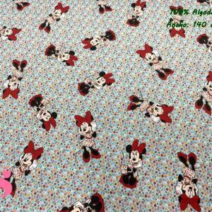 947 Tejido Estampado Patch Americano Minnie Florecitas Menta