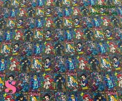 3-telas-disney,telas-infantiles,telas-frikis,estampados-disney,estampados-disney,tela-prinsesas-y-villanas,Tejido Estampado Vidriera Princesas Disney