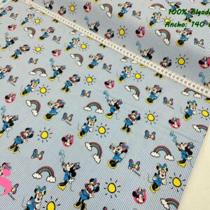 950 Tejido Estampado Patch Americano Minnie Rayitas Azules
