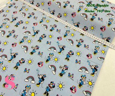 30-telas-de-algodón,telas-para-confeccionar-ropa-de-niño,telas-de-bebe,telas-infantiles,telas-disney,telas-minnie, Tejido Estampado Patch Americano Minnie Rayitas Azules