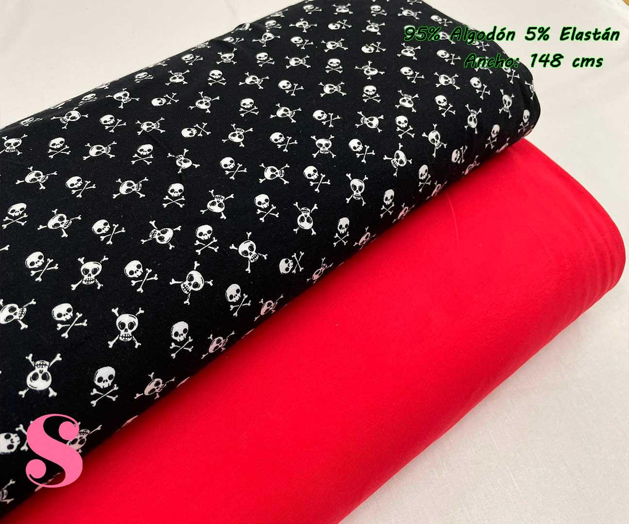 7-telas-de-punto,telas-para-confeccionar-ropa-de-niño,telas-que-no-se-arrugan,tela-sin-plancha,Punto Camiseta Jersey Estampado Calaveras Negro,Punto Camiseta Jersey Rojo