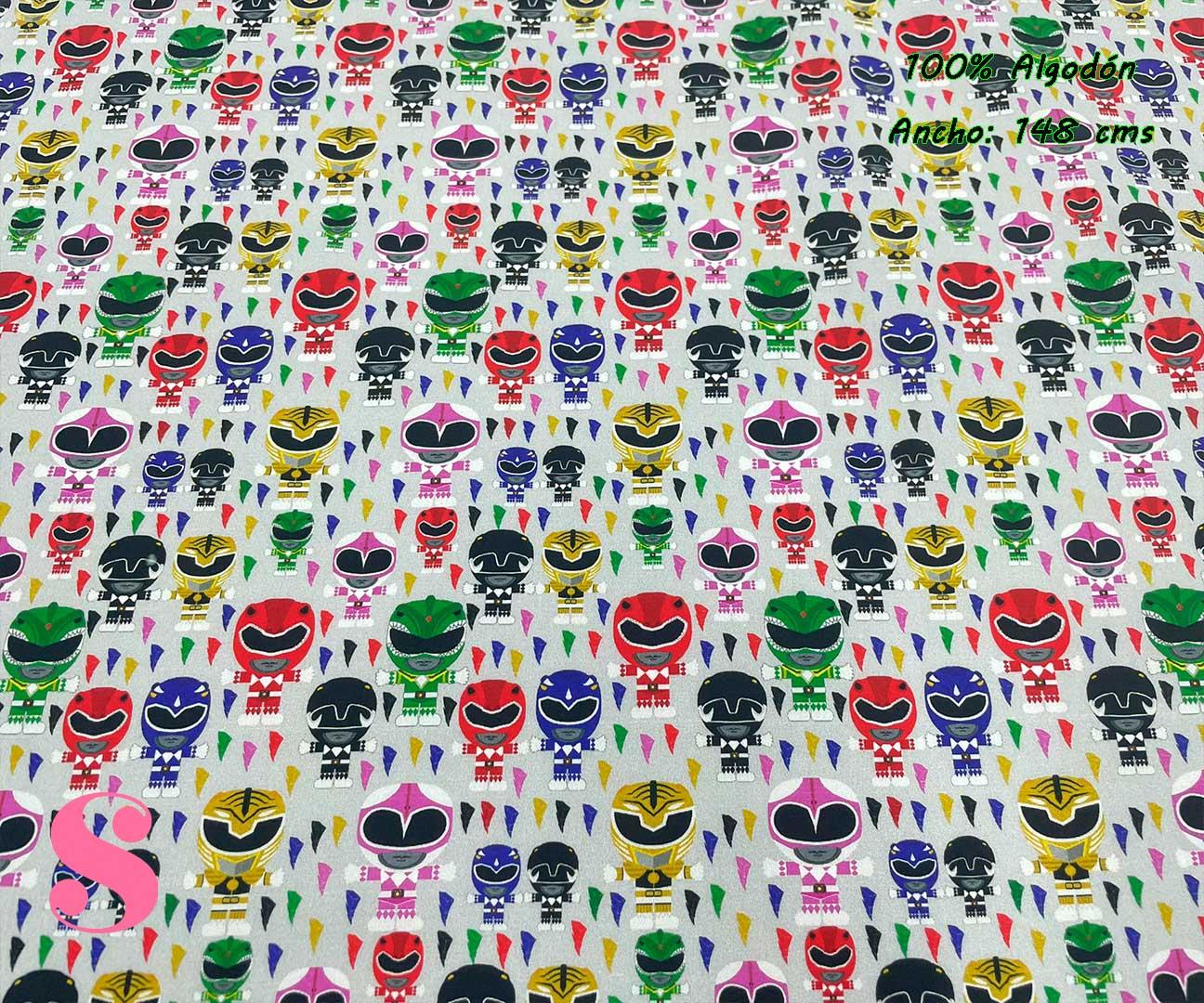 4-telas-disney,telas-infantiles,telas-frikis,estampados-disney,estampados-disney,tela-power-ranger,Tejido Estampado Mini Power Rangers