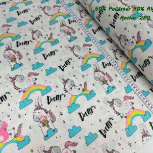 955 Loneta Estampada Unicornio Dream