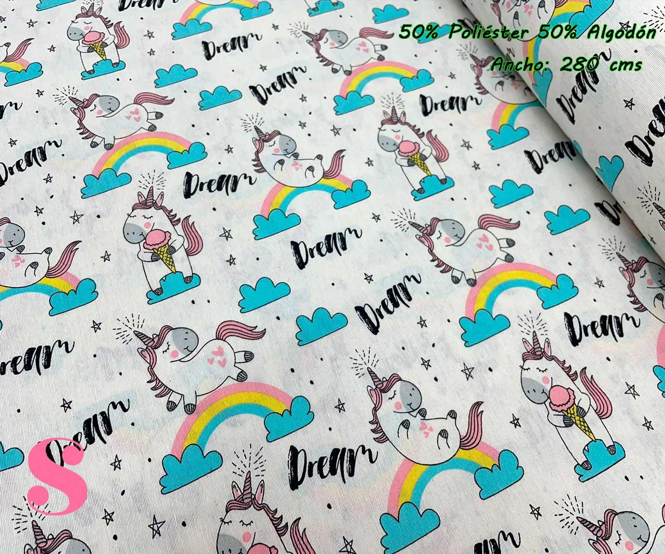 7-tela-de-tapiz,tela-loneta,tela-para-forrar-sillas,telas-de-exterior,telas-rústicas,Loneta Estampada Unicornio Dream