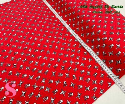 8-telas-de-punto,telas-para-confeccionar-ropa-de-niño,telas-que-no-se-arrugan,tela-sin-plancha,Punto Camiseta Jersey Estampado Calaveras Rojo