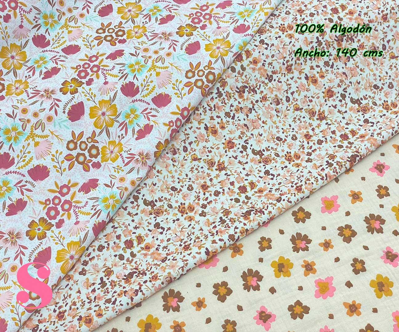 3-popelin-estampado-flores,telas-flores,telas-de-algodón-estampadas,telas-infantiles,Popelín Estampado Florecitas Otoño fondo Blanco