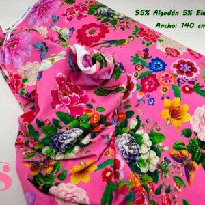 995 Punto Camiseta Jersey Estampado Flores & Pájaros Fucsia