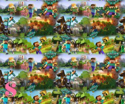10-telas-frikis,estampados-frikis,tela-de-algodón-estampada-de-moda,estampados-originales,telas-estampadas-infantiles,Tejido Estampado Minecraft Action