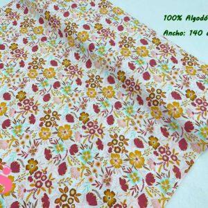 0019 Popelín Estampado Fall Flowers fondo Blanco