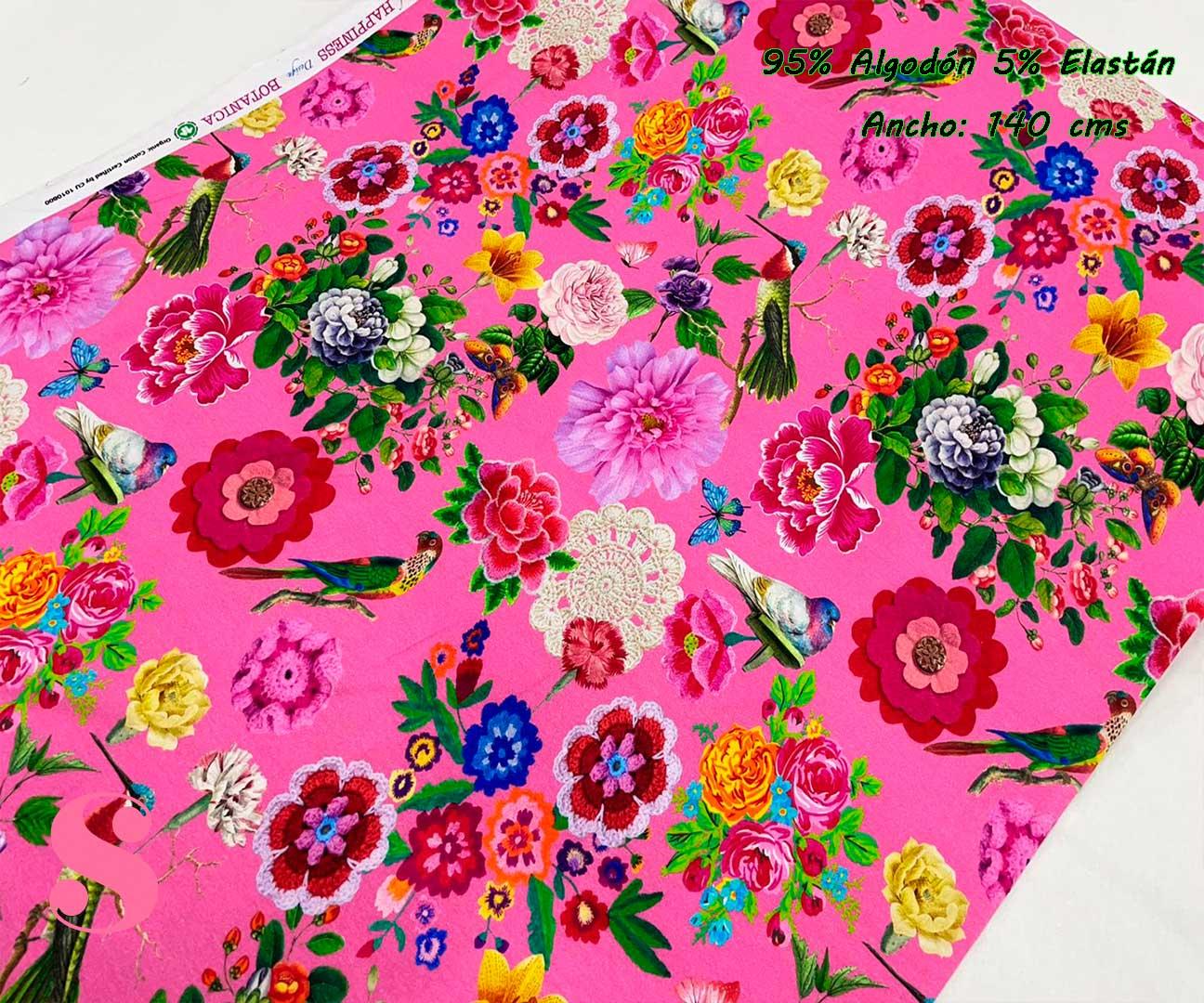 10-telas-de-punto,telas-estampadas-infantiles,tejidos-estampados-para-sudaderas,telas-para-confeccionar-ropa-infantil,Punto Camiseta Jersey Estampado Flores & Pájaros Fucsia