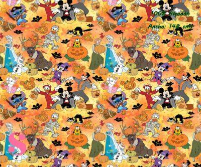 11-telas-frikis,estampados-frikis,tela-de-algodón-estampada-de-moda,estampados-originales,telas-estampadas-infantiles,Tejido Estampado Disney Halloween