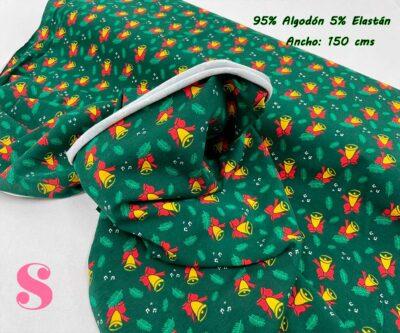 16-telas-de-punto,telas-estampadas-infantiles,tejidos-estampados-para-sudaderas,telas-para-confeccionar-ropa-infantil,Punto Camiseta Jersey Estampado Campanas de Navidad