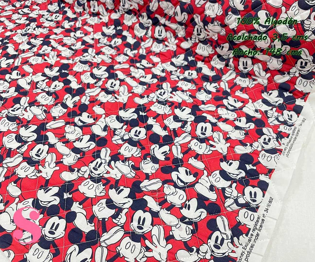 16-telas-acolchadas,estampados-acolchados-infantiles,acolchados-para-fundas,-telas-para-fundas-de-carrito-de-bebes,Acolchado Mickey fondo Rojo