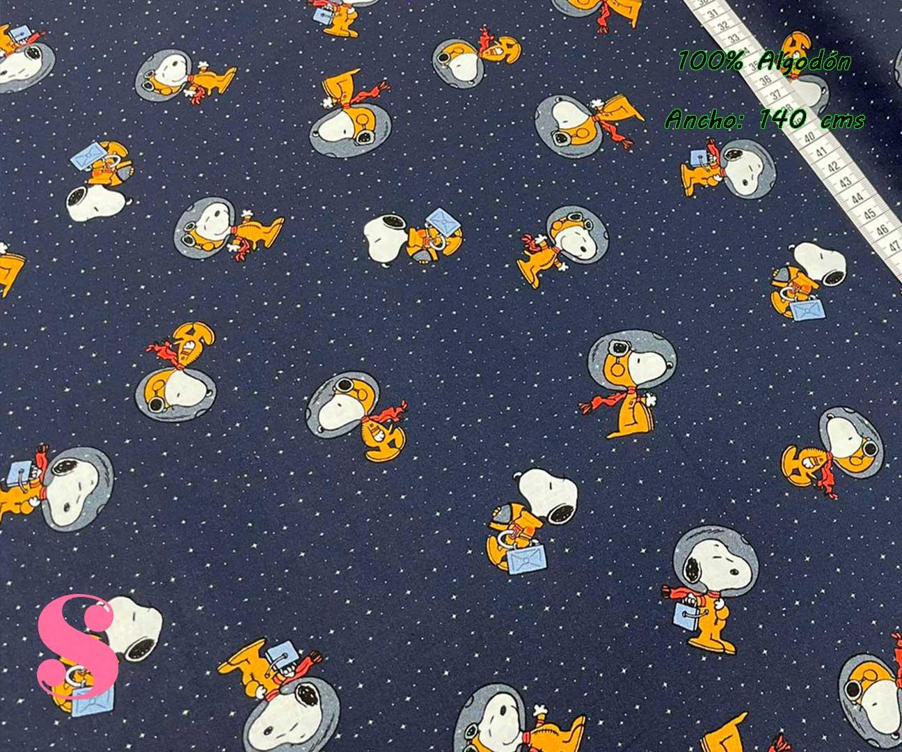 2-telas-para-patchwork,telas-estampadas-originales,tejidos-estampados-originales,telas-frikis,Tejido Estampado Patch Americano Snoopy Astronauta